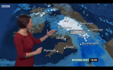 BBC Weather showing the snow