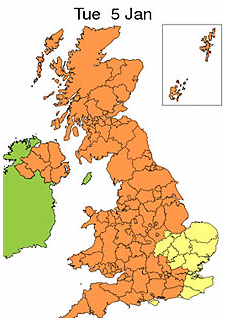 Cold alerts and snow warnings issued for 5th Jan 2010