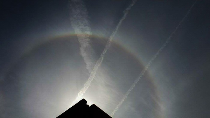 Sun Halo over Bromborough, Wirral. CREDIT: Kirsty Bakstad