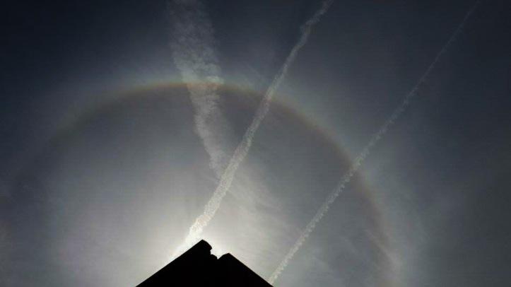 Sun Halo over Bromborough, Wirral. CREDIT: Kirsty Bakstad