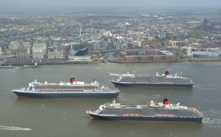 CUNARDS THREE QUEENS MEET IN THE MERSEY TO CELEBRATE 175TH ANNIVERSARY OF CUNARD