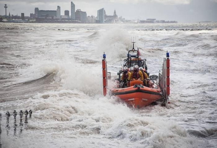 New Brighton RNLI during launch. Credit: RNLI/Bob Warwick