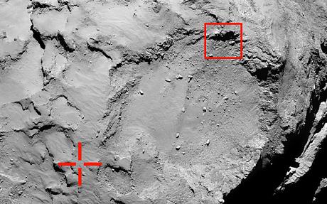 Comet lands in shadow.