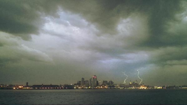 Thunderstorms over Liverpool on Wednesday night.. CREDIT:@webspressouk