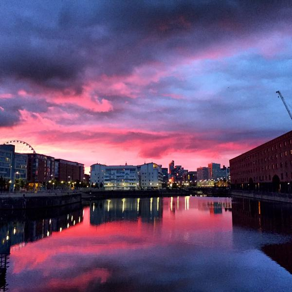 Albert Dock sunset. CREDIT: Rebecca Mortby