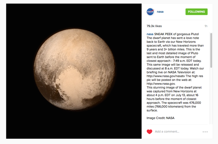 Nasa chose to debut the photo on Instagram
