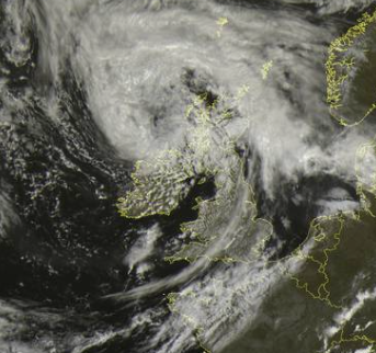 Low pressure system over the UK on Friday
