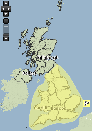 MET OFFICE: Yellow warning map