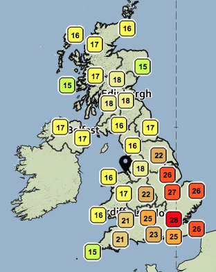 Temperatures on Saturday. CREDIT: Met Office