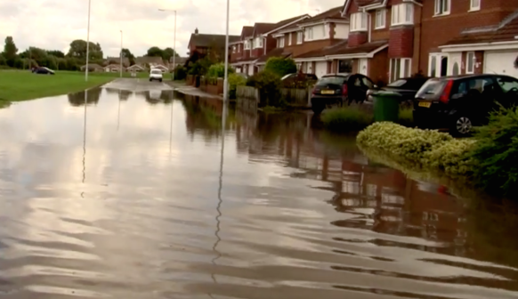 Homes flooded in Moreton on Wednesday