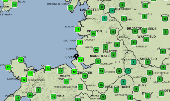 Overnight temps for Saturday. Credit: Met Office