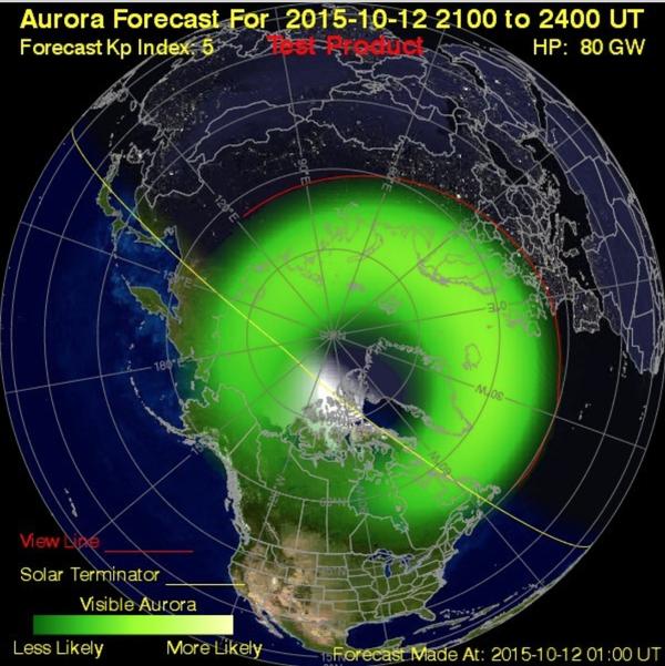 Tonights predicted aurora activity