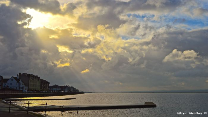 Sun trying to break through the cloud in West Kirby on Wednesday.