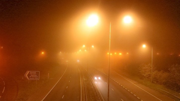 Thick fog descends on the M53 last night. CREDIT: Kirsty Bakstad