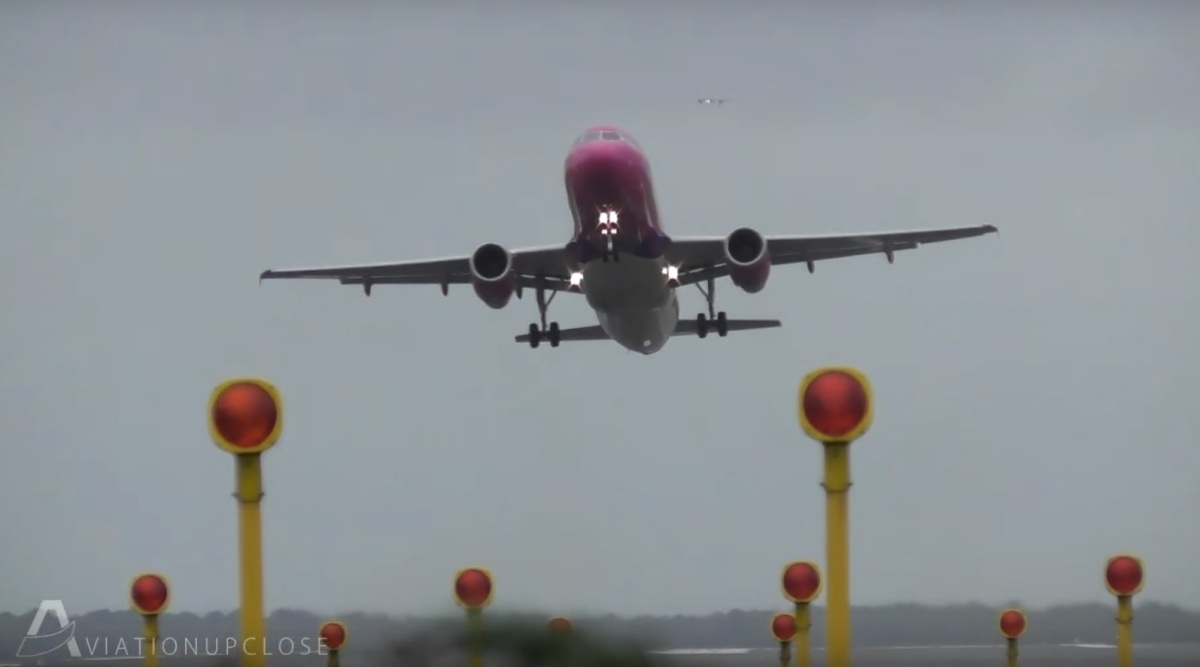 Dramatic footage shows planes attempting to land at Liverpool Airport during storm Brian