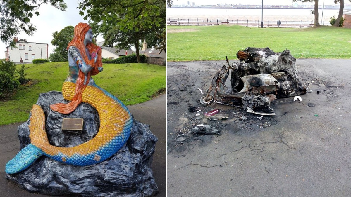 Shocking images show part of New Brighton's mermaid trail completely destroyed by vandals